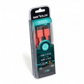 SERIOUX HDMI M-M RED FLAT CABLE 1.5M